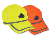 "Hi-Vis Baseball Cap with Mesh Venting and Reflective Trim. ANSI certified 150-denier oxford polyester. 1/4"" level II ANSI certified reflective tape. One size"