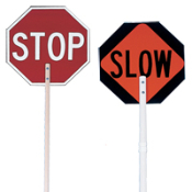 "Stop/Slow Paddle Sign and handle are made of ABS plastic. The 8"" high legend and background are silk screened. Paddles are also available with reflectorized sheeting for a different price."