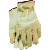 Industry Grain Pigskin Driver Glove, Keystone Thumb, Shirred Elastic Back, Unlined. Great for not only truck and equipment operators but also for general purpose work.