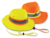 "Hi-Vis Ranger Hat with a 360 degree brim to protect your face and neck from the sun. Mesh venting panels help keep the wearer cool. 1"" Level 2 ANSI Certified tape. ANSI/SEA 107. Machine washable."