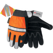 Luminator Multi-Task Premium Side Split Leather Glove. Orange material and 3M® reflective striping on the back. Unlined black split leather with a double leather palm pattern. S, M, L, XL.