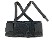 ProFlex® 100 Economy Back Support - Ergodyne. Featuring a spandex body and non-conductive polypropylene stays. Rubber track webbing helps heep support in position. Detachable suspenders.