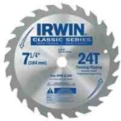 "Irwin Quality. The best value in an economy blade with a corrosion resistant coating to help prevent rusting. Precision ground teeth for smooth, accurate cuts and slots for straighter cuts. 7 1/4"" diameter, 5/8"" arbor, 24 teeth"