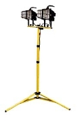 CEP 1000 watt Quartz Halogen Light Stand features 2) 500 watt fixtures, a sturdy double tripod base, and a convenient cord wrap. Weather-proof and UL listed for use in wet locations.