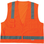 "Ergodyne's Surveyor's Vest meets ANSI 107-2004 standards with 2"" wide 3M Scotchite reflective tape. Solid Front, Mesh Back, Zipper Closure, 5 Pockets. Size L-XL and 2X-3X"
