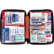 205 Piece Outdoor First Aid Kit in a soft pack case Perfect for hiking, camping, marine adventures, home and auto. It features essential first aid items for minor aches and injuries. Supplies are easy to find in clear-pocket pages.