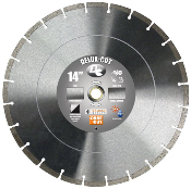 "Delux-Cut Diamond Blade - Dry or Wet Cut 14"" X .125"" X 1""-20mm with .394"" Diamond Depth in Segments. Suitable for General Purpose cost efficient concrete cutting."