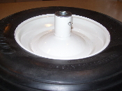 Replacement wheel with Flat Free tire. Use as a replacement for 4.80/400-8 wheelbarrow air tires or worn flat free tires. Ribbed tread pattern