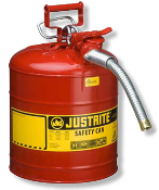 Justrite AccuFlow Type II Safety Cans go beyond protection and compliance by providing fast precision pouring when handling flammable liquids.