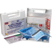 This 24 piece bodily fluid spill kit is designed to guard during bio-hazard clean-up and is used in businesses, offices and work sites. In a portable, mountable plastic case.