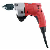 This heavy duty Magnum® drill is built for industrial and construction applications. It features raw power with a Milwaukee built 5.5 amp motor, reversing, and a 0-950 rpm speed control.