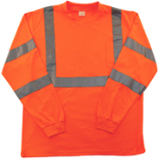 Long sleeves, chest pocket with continuous super bright silver retroreflective tape, ribbed collar & cuffs. 100% polyester. Meets ANSI / ISEA 107 - 2004 Class 3 Standards