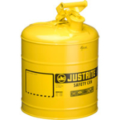 Justrite Type I safety cans reduce fire risks and make everyday use of flammables easier and safer. Type II cans are also available. Use the yellow colored can for diesel fuel.