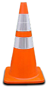 "Injection molded PVC, 28"" wide body traffic cone, 7lb. or 10lb. with rubber base. Non-reflective or with 6"" and 4"" reflective collars."