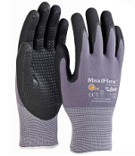 G-Tek MaxiFlex® Endurance gloves by ATG® have black micro-foam coated palm and finger tips and a nitrile dotted palm. Gray nylon liner.