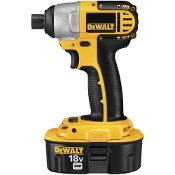 "The DeWalt DC825KA 1/4"" Impact Driver Kit includes a 1 hour charger, case, and 2) 18V XRP™ batteries"