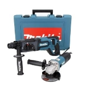 "This powerful 7 amp Makita 1"" SDS+ Rotary Hammer is packed with features that equal value. Includes depth gauge, side handle, case - and a 4-1/2"" angle grinder!"