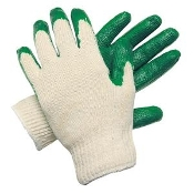 These Memphis medium-weight gloves have a textured latex-dipped palm. The 10oz. poly/cotton string knit shell provides breathability and comfort. Ideal for material and glass handling operations. Sold by the dozen