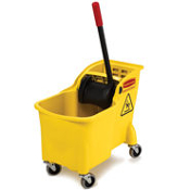 The Rubbermaid Tandem mop bucket's all-in-one compact design means more effective wringing, better mop performance, and no more lost components.