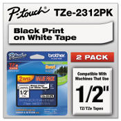 These Brother TZe standard laminated tapes feature standard adhesive, which is designed for flat surfaces like office paper, file folders, and binders, and also most flat, non-textured metal, plastic, and glass surfaces.