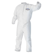 "Kimberly Clark KleenGuard A30 breathable splash and particle protection coveralls are made of a breathable, microforce barrier SMS fabric with eastic wrists, ankles, and back. Zipper front with a 1"" flap."