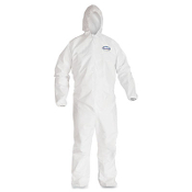 Kimberly Clark KleenGuard A40 liquid and particle protection coveralls are made of a breathable, microporous film laminate with elastic wrists, ankles and a zipper front