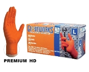 The Glove Works Heavy Duty Orange Nitrile Glove is a 7 mil disposable glove with a beaded cuff and a true raised diamond texture for incredible grip.