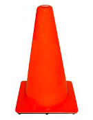 "Injection molded PVC, 18"" wide body traffic cone, 3 lb. with rubber base. Non-reflective."