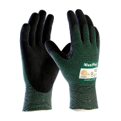MaxiFlex® Cut Level 3 gloves by ATG® have black micro-foam coated palm and finger tips and a seamless gray nylon liner.