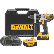 The DeWalt DCD980M2 Drill/Driver Kit includes 2) 20V Max* XR Premium Lithium Ion batteries, 1 hour charger, 360 degree handle, and case.