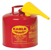 Eagle safety cans are constructed of 24-gauge hot dipped galvanized steel and are the only deep drawn seamless can made,