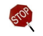 "Stop/Stop Paddle Sign has HID sheeting on a.040"" aluminum blank. The 9"" handle is steel with a rubber grip. Pre-drilled handle holes."