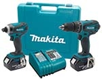"The Makita 18V XT® Lithium-Ion Cordless 2-Pc. Combo Kit includes 1) 18V XT Lithium-ion 1/2"" Hammer-Driver Drill, 1) 18V XT Lithium-ion Impact Driver, 2) 18V LXT Lithium-ion Batteries, 1) 30 Minute Rapid Optimum Charger, and Tool Case"